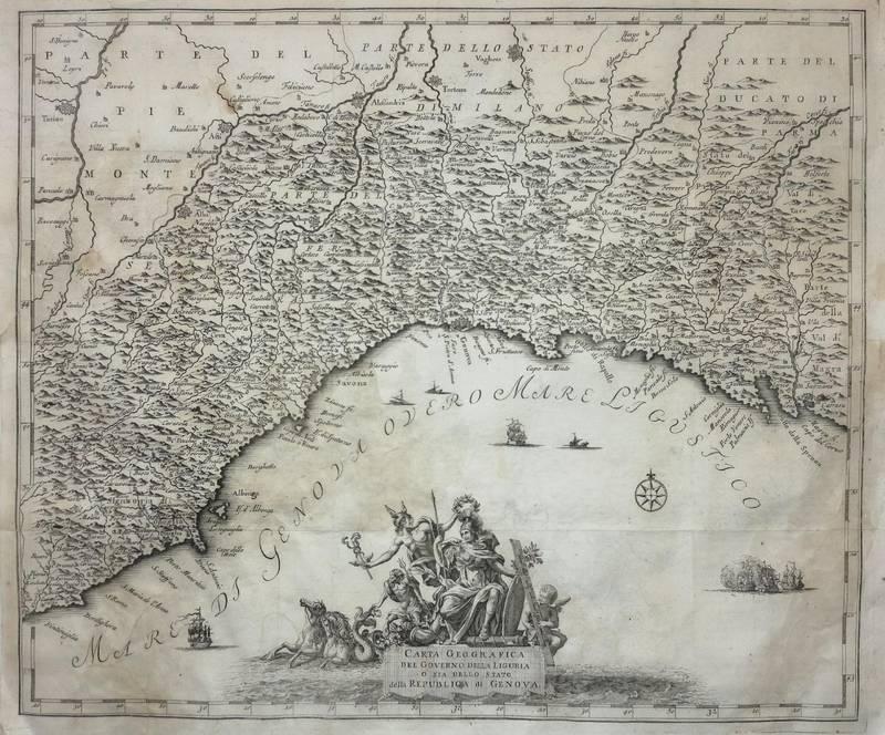 CARTA GEOGRAFICA DEL GOVERNO DELLA LIGURIA O SIA DELLO STATO DELLA REPUBLICA DI GENOVA