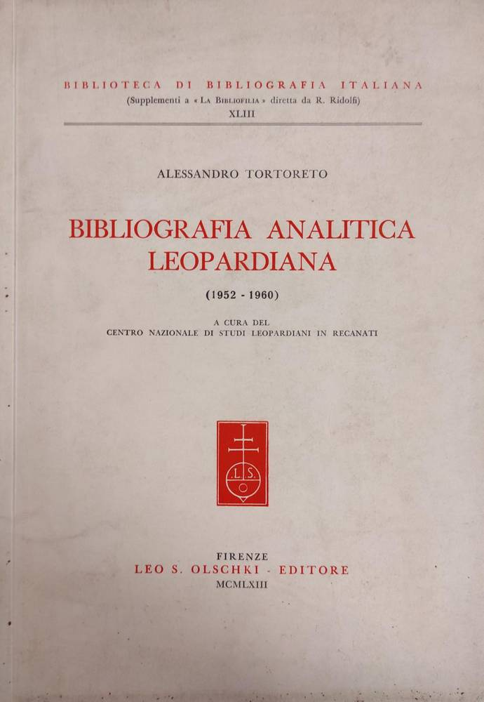 BIBLIOGRAFIA ANALITICA LEOPARDIANA (1952-1960)
