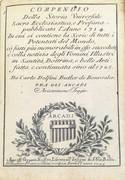 COMPENDIO DELLA STORIA UNIVERSALE SACRA ECCLESIASTICA E PROFANA PUBBLICATA L'ANNO 1714 (...) FINO AL 1725