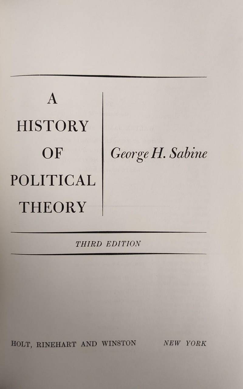 A HISTORY OF POLITICAL THEORY
