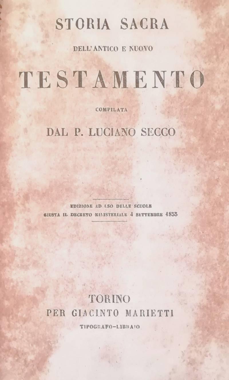 TORIA SACRA DELL'ANTICO E NUOVO TESTAMENTO