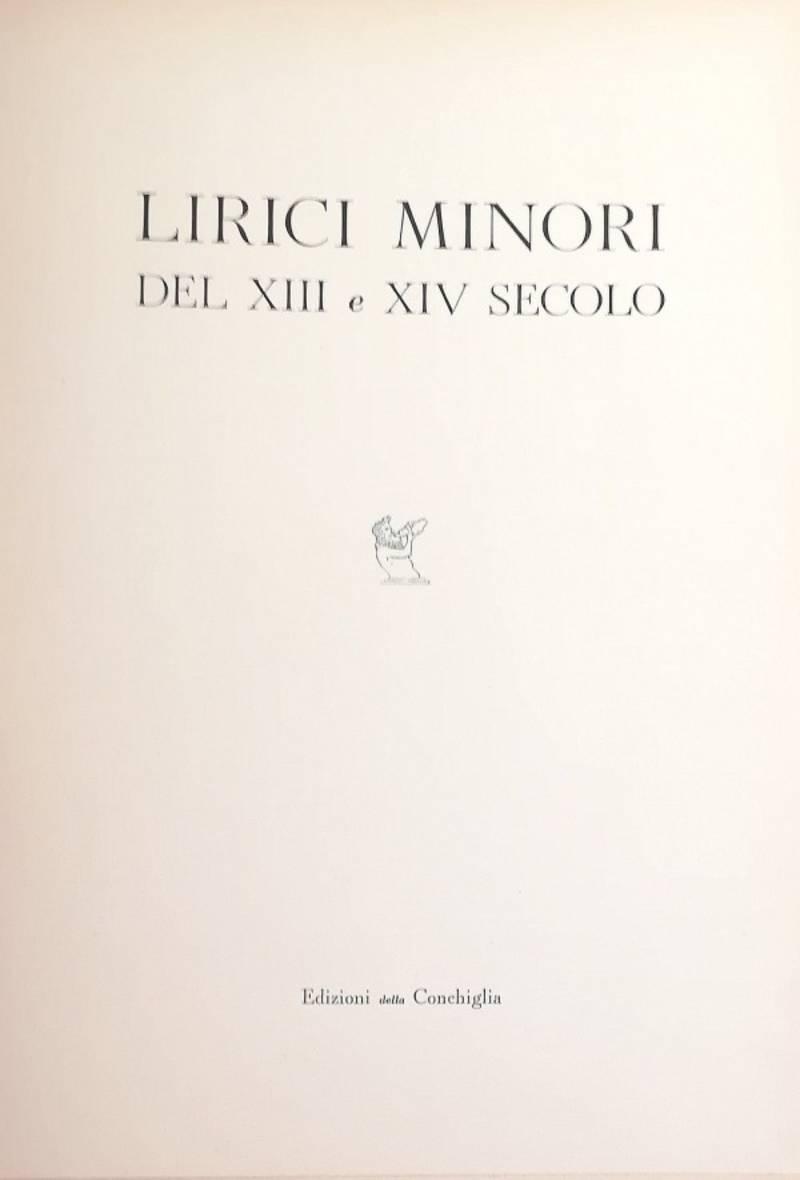 LIRICI MINORI DEL XIII E XIV SECOLO