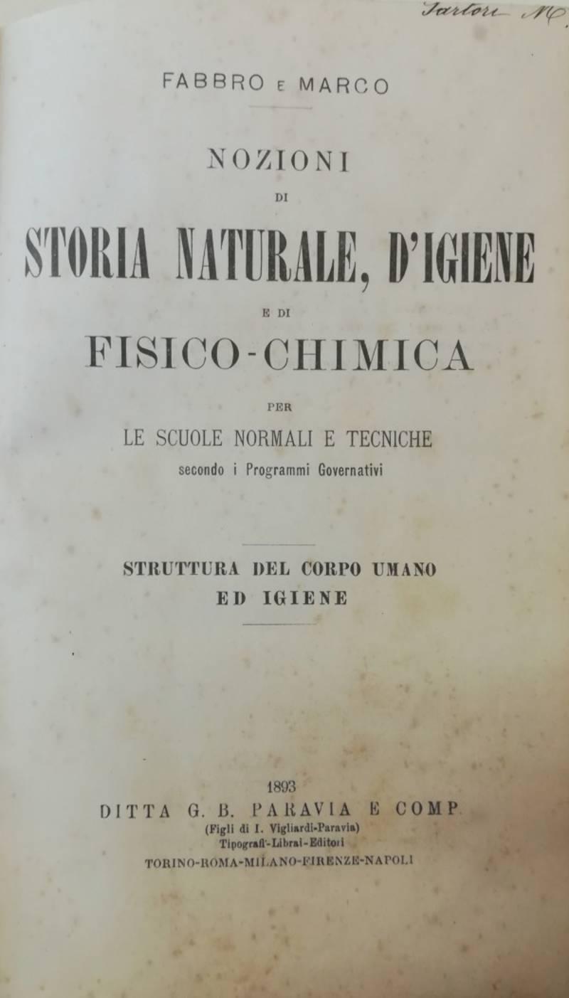 NOZIONI DI STORIA NATURALE, D'IGIENE E DI FISICO-CHIMICA