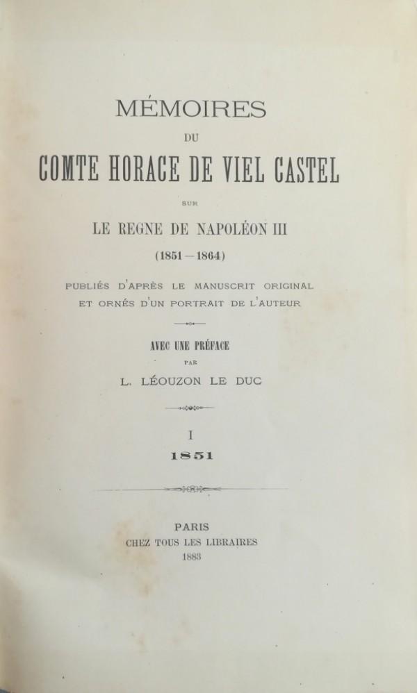 MEMOIRES DU COMTE HORACE DE VIEL CASTEL